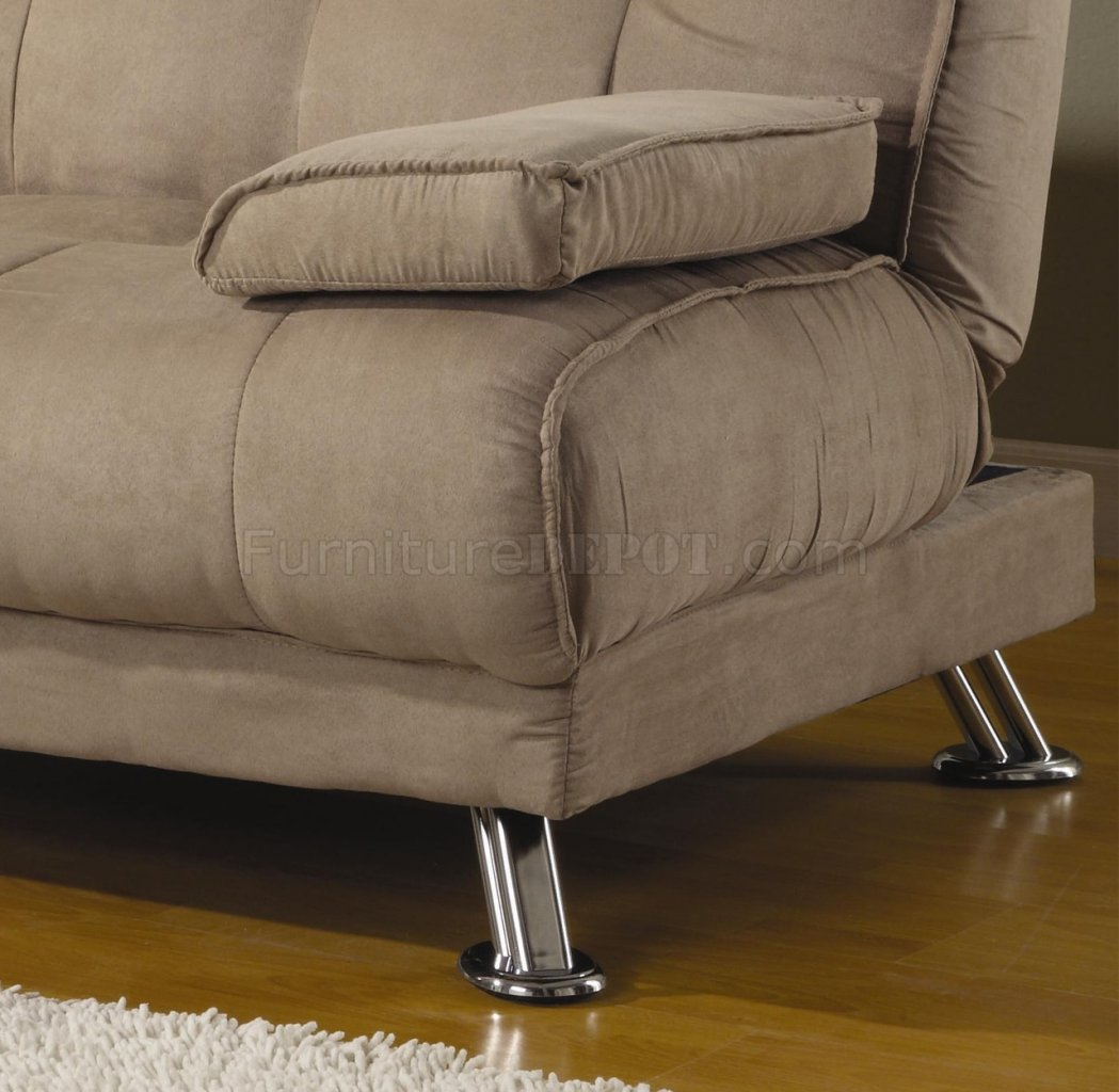 Microfiber Fabric Modern Convertible Sofa Bed 300147 Tan