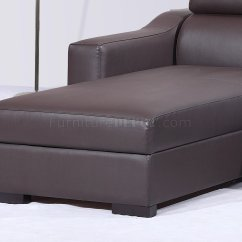 Brown Sectional Sleeper Sofa Bed Grey Chocolate Italian Leather Modern