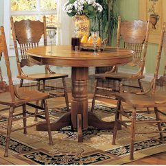 Round Oak Table And Chairs Kimball Wish Chair Solid Finish Dinette With Wooden