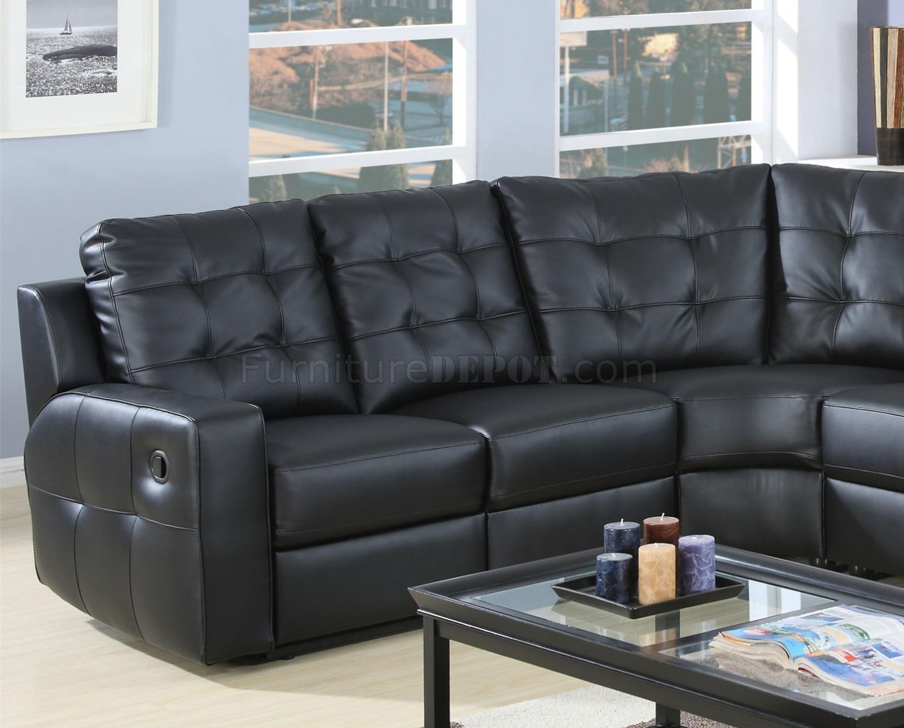 Modern Leather Double Reclining Sectional Sofa 600315 Black