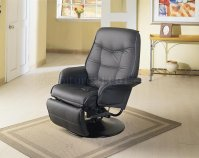Black Leatherette Cushion Contemporary Swivel Recliner