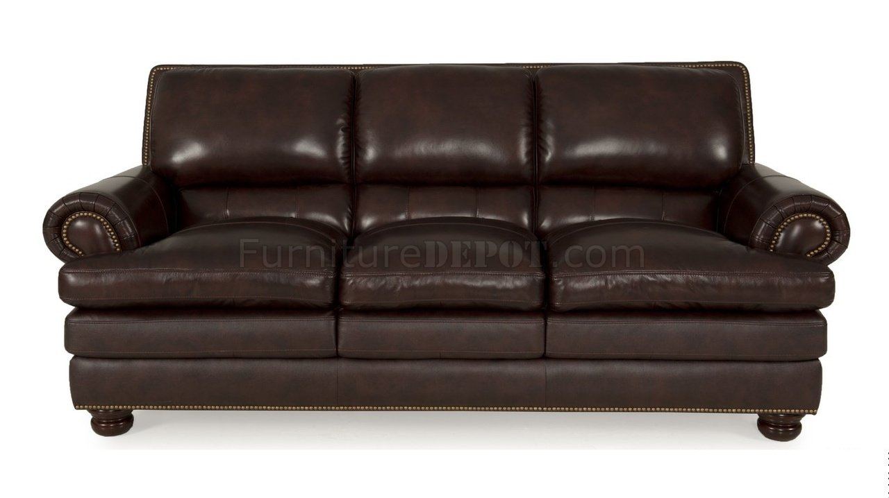 8294 Roswell Sofa  Loveseat in Burgundy by Leather Italia