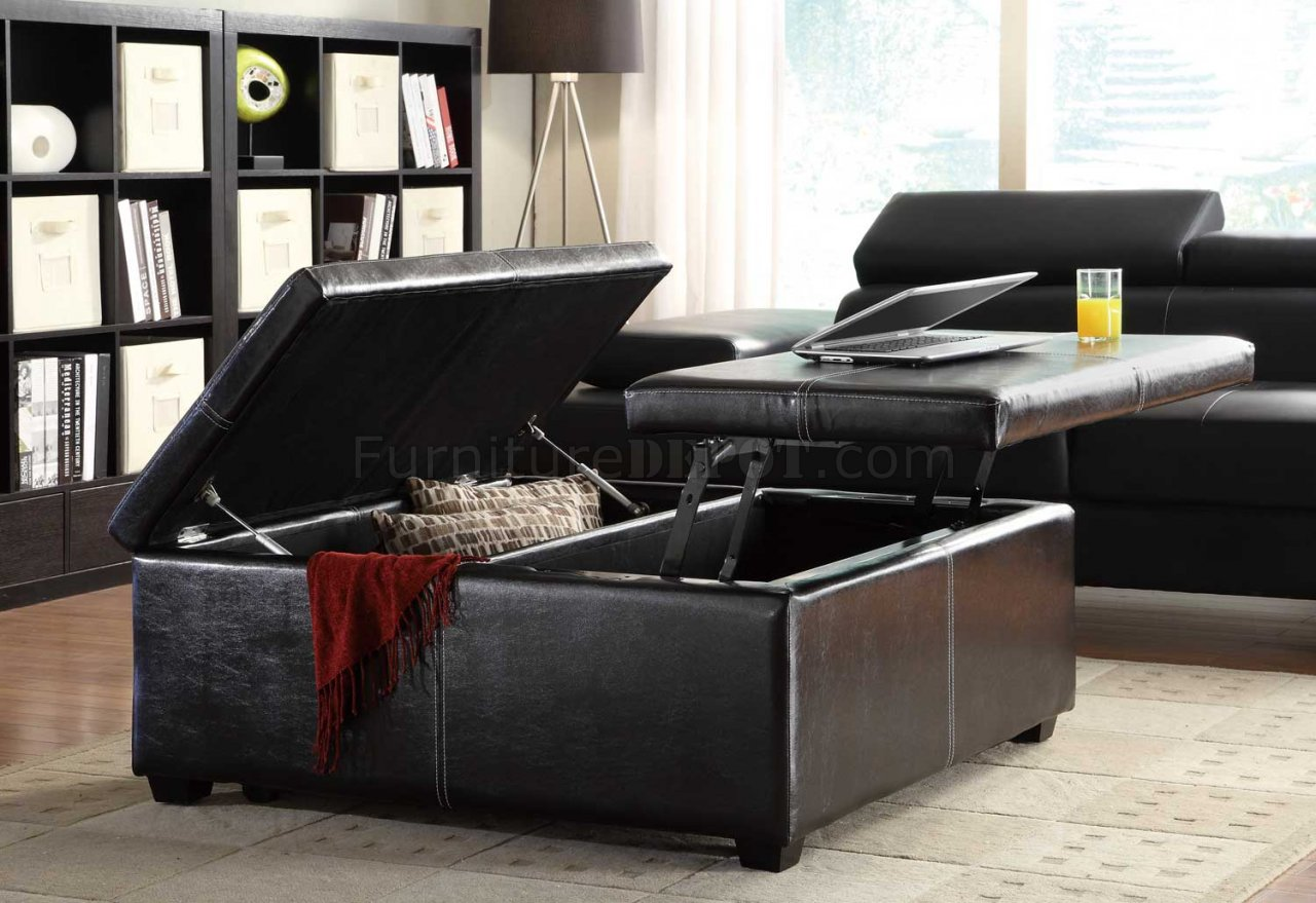 Synergy Cocktail Ottoman 4727PU in Dark Brown by Homelegance