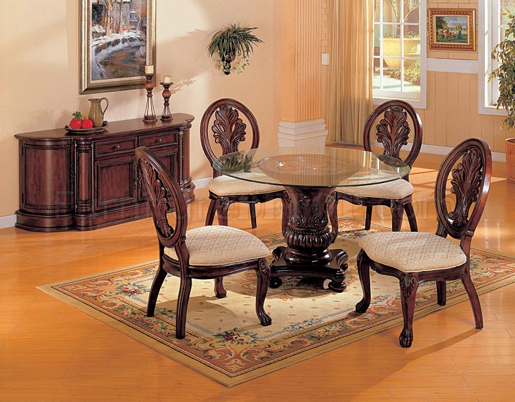 Cherry Finish Round Shape Ideal Dinette Table WGlass Top