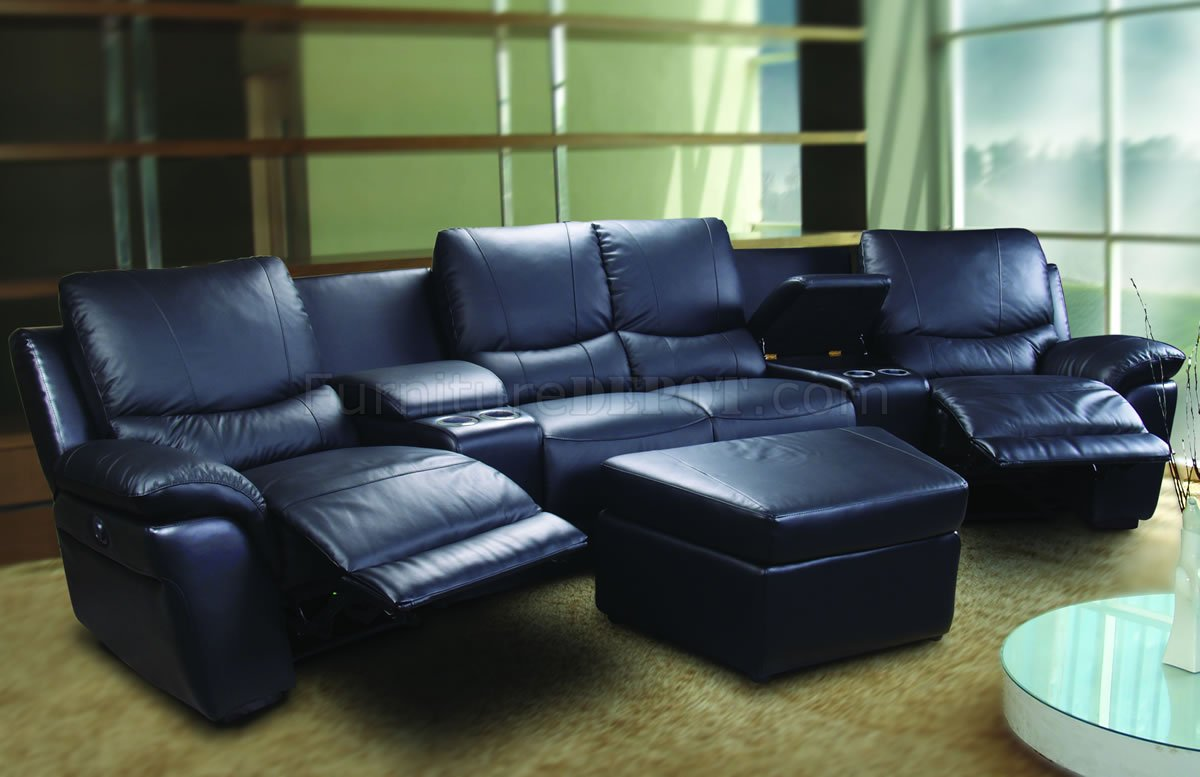 motorized sectional sofa 2nd hand set bangalore black leatherette home theater w recliners