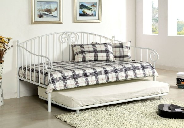 Cm1603wh Hamden Metal Daybed In White Withtwin Trundle