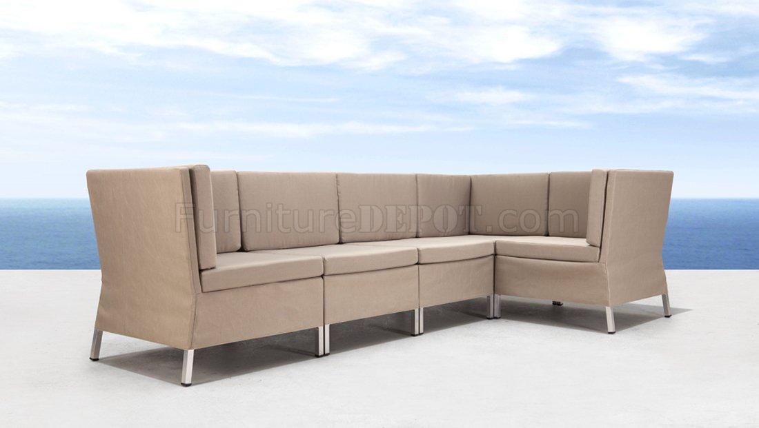 Beige Water Resistant Fabric Modern 5PC Modular Outdoor Sofa