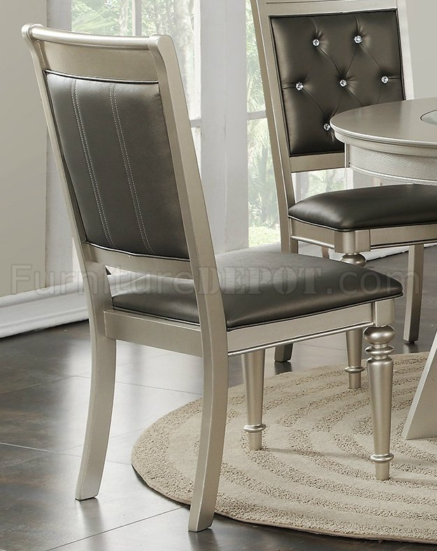 F2428 Dining Set 5Pc In Silver Finish By Boss W F1705 Chairs
