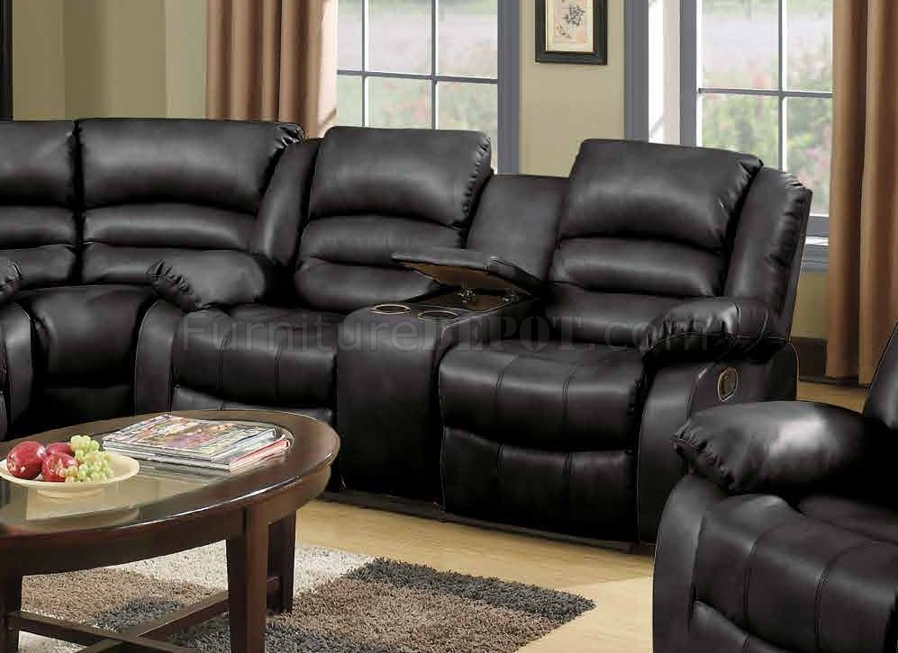 91719241 Reclining Sectional Sofa in Black Bonded Leather