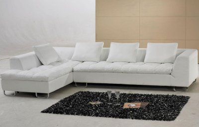 White Leather Modern Sectional Sofa w/Metal Legs