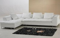 White Leather Modern Sectional Sofa w/Metal Legs