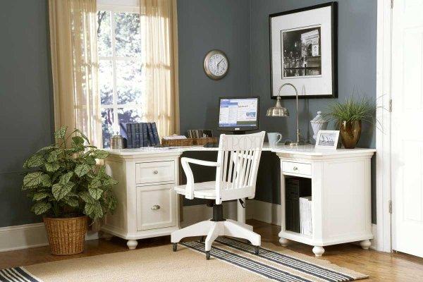 small home office design ideas 8891 Hanna White Home Office Corner Desk w/Options