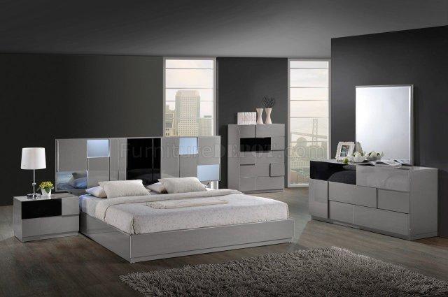 Bianca Bedroom Set by Global w/Platform Bed & 2 Nightstands