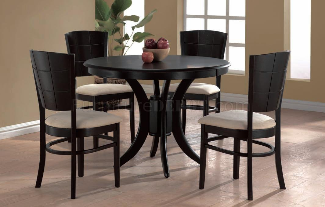 Espresso Finish Modern Round Dining Table wOptional Chairs