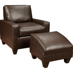 Leather Chair Ottoman Set Best Ergonomic Recliner Chairs Chocolate Bonded Modern And