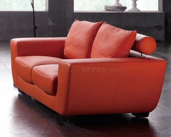 Orange Leather Sofa and Loveseat