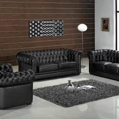 3 Piece Black Leather Living Room Set Carpet Singapore Ultra Modern Paris 3pc W Wood Legs