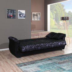 Black Vinyl Futon Sofa Modern Sectional Sleeper Burgundy Fabric And Two Tone Bed W