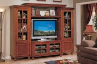 Merlot Oak Classic Entertainment Center w/Storage Cabinets