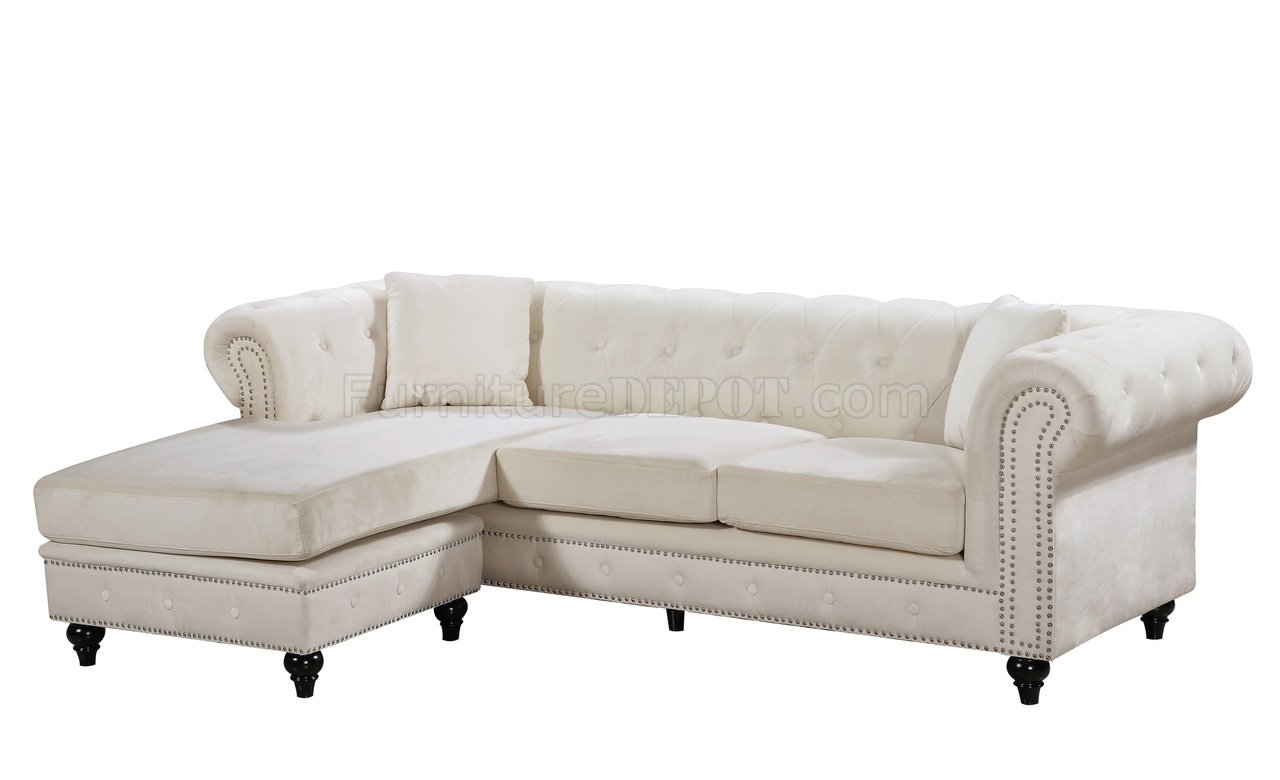 sabrina sofa sectional houston tx 667 in cream velvet fabric by meridian