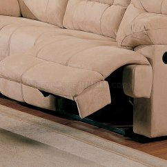Fabric Sectional Sofa With Recliner Chocolate Grey Walls Beige Saddle Stylish Modern Reclining