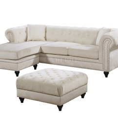 Reversible Sectional Sofas With Chaise Sofa Standard Length Sabrina 667 In Cream Velvet Fabric By Meridian
