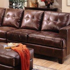 Baseball Leather Sofa Small Beds Uk Samuel Modern Sectional 500911 Brown