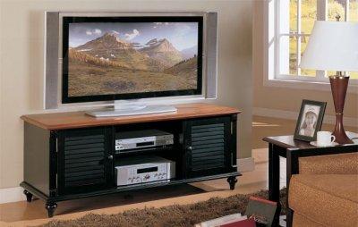 TwoTone Antique Black  Oak Finish TV Stand wStorage