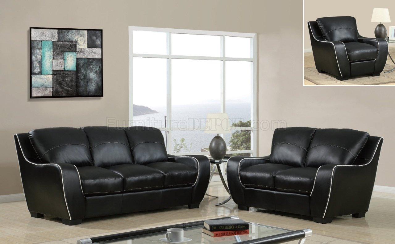 brooklyn bonded leather lounger chair and ottoman chairs in a bag u8080 sofa black by global furniture usa