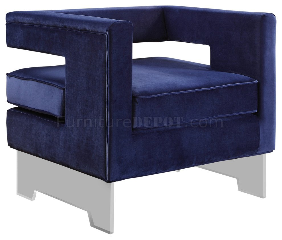 navy blue velvet club chair wholesale folding chairs carson 502 accent in fabric w/acrylic legs