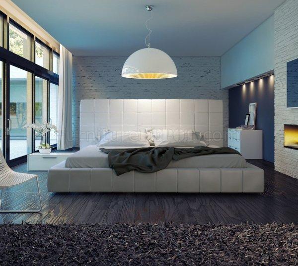 Md321 Thompson White Leather Bed Modloft