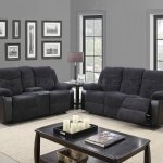 U1566 Motion Sofa Dark Grey Fabric Black Pu Global W Options