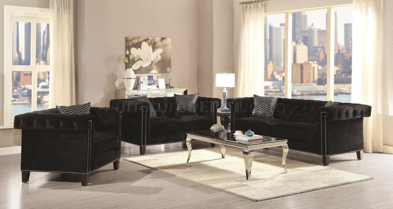 Reventlow Sofa 505817 In Black Velvet Fabric Coaster WOptions