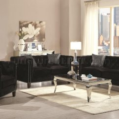 Red Leather Sofas And Chairs Cad Block Sofa Set Reventlow 505817 In Black Velvet Fabric - Coaster W ...