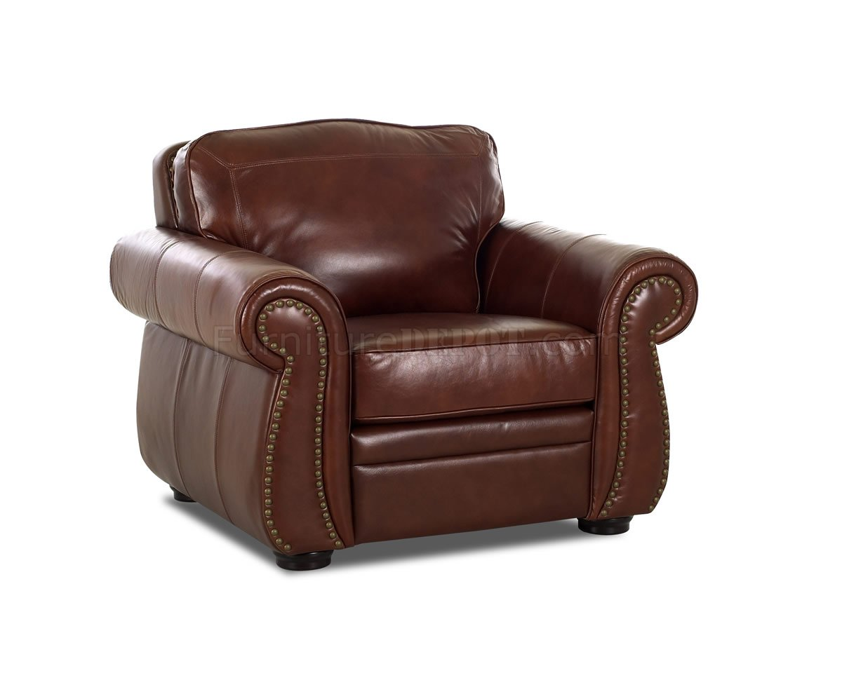 chestnut colored leather sofa diy chesterfield plans full classic living room w nail head trim