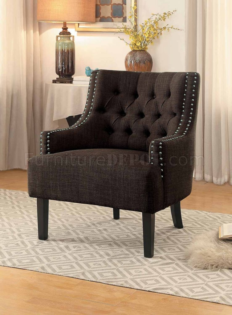 leather nailhead sofa set slipcovered sleeper charisma accent chair 1194ch in chocolate fabric by ...