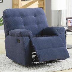 Blue Recliner Chair Ballard Designs Covers Corduroy Fabric Modern Rocker W Pillow