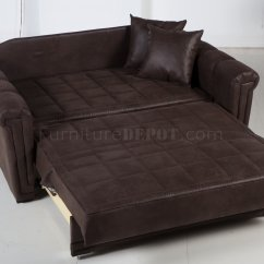 Small Sofa Bed Without Arms And Loveseats Chocolate Specially Treated Microfiber Modern Loveseat