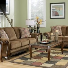 Discontinued Ashley Sofa Tables Henley Scs Mocha Chenille Traditional & Loveseat Set By ...