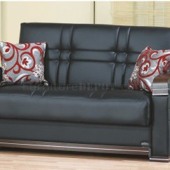Leatherette Sofa Durability Childs Seat Bronx Bed In Black W Optional Loveseat