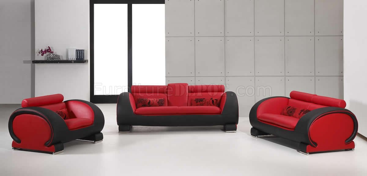 sofa armrest with cup holder how to build a sectional outdoor red & black two-tone bonded leather modern 3pc set