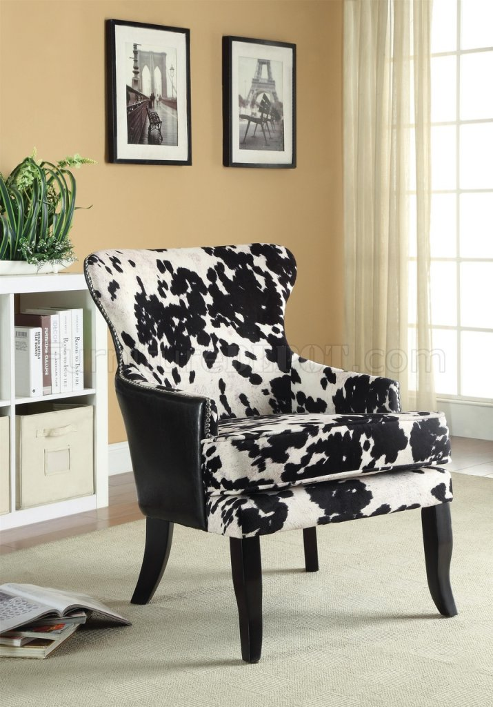 902169 Accent Chair Set of 2 in Black  White Fabric by