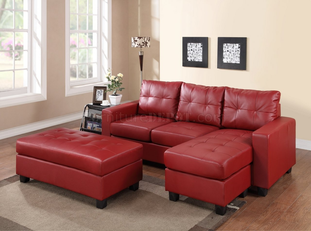 sofa designs in red colour mission sleeper 2511 sectional set bonded leather match pu
