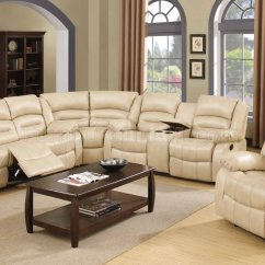 Modern Bonded Leather Sectional Sofa With Recliners Lane Benson 9243 Reclining In Cream W ...