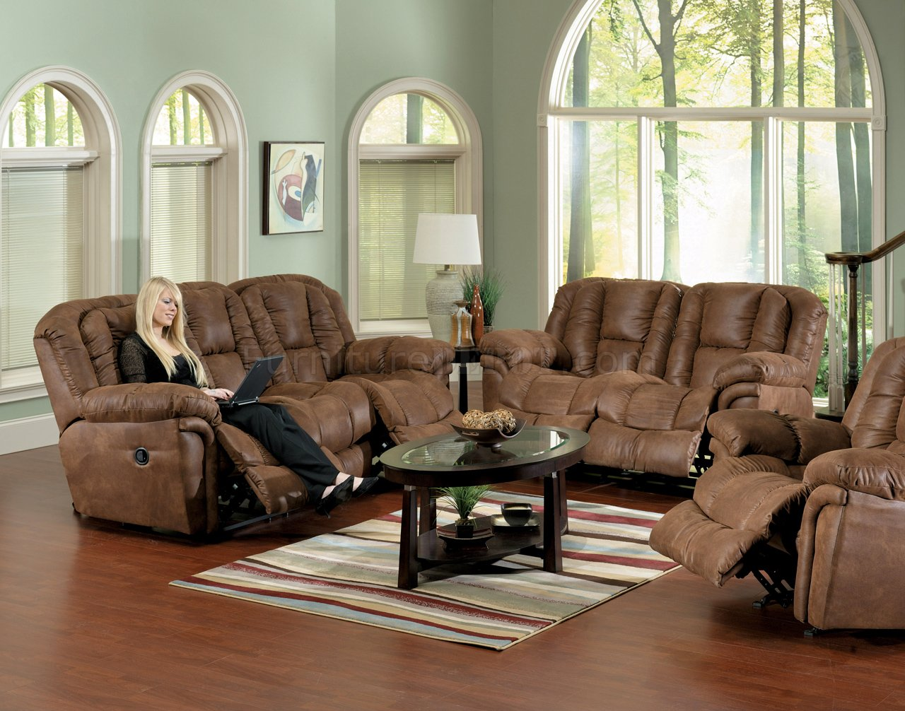 faux leather reclining sofa set two person tanner contour and loveseat