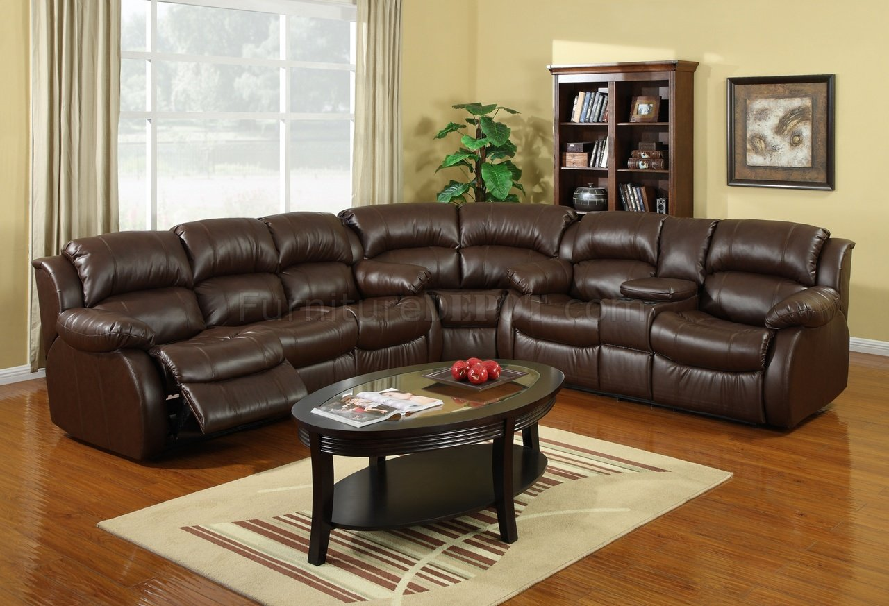 8002 Reclining Sectional Sofa In Brown Bonded Leather