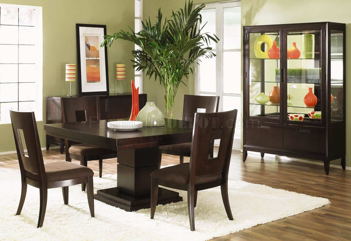 dark wood dining room chairs wheelchair transport finish modern w optional items