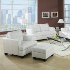 Black Leather Living Room Barcelona Chair Sets White Or Red Bonded Sofa W Options