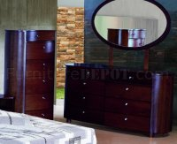 Espresso Finish Stylish Bedroom With Artistic Design