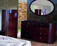 Espresso Finish Stylish Bedroom With Artistic Design